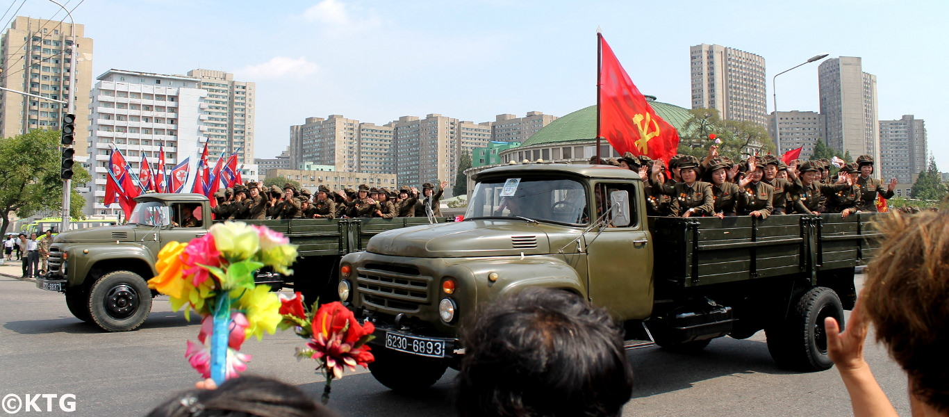 Female soldiers coming out of a military parade in Pyongyang capital of North Korea. Picture taken by KTG Tours