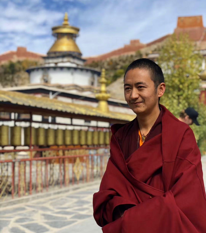 Monk in Gyangste in Tibet, China