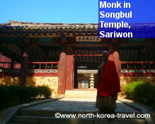 North Korean Monk in Songbul Temple in Chongbang Mountain near Sariwon, DPRK (North Korea)