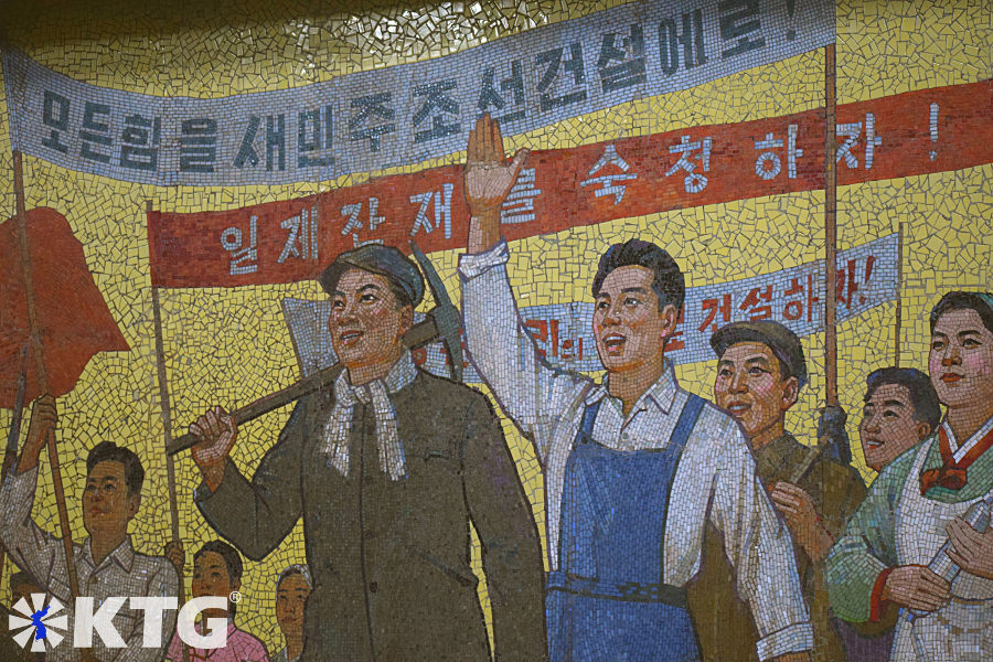 mosaci mural depicting North Korean people after liberation at the Construction Pyongyang metro station in North Korea, DPRK. Picture of North Korea taken by KTG Tours