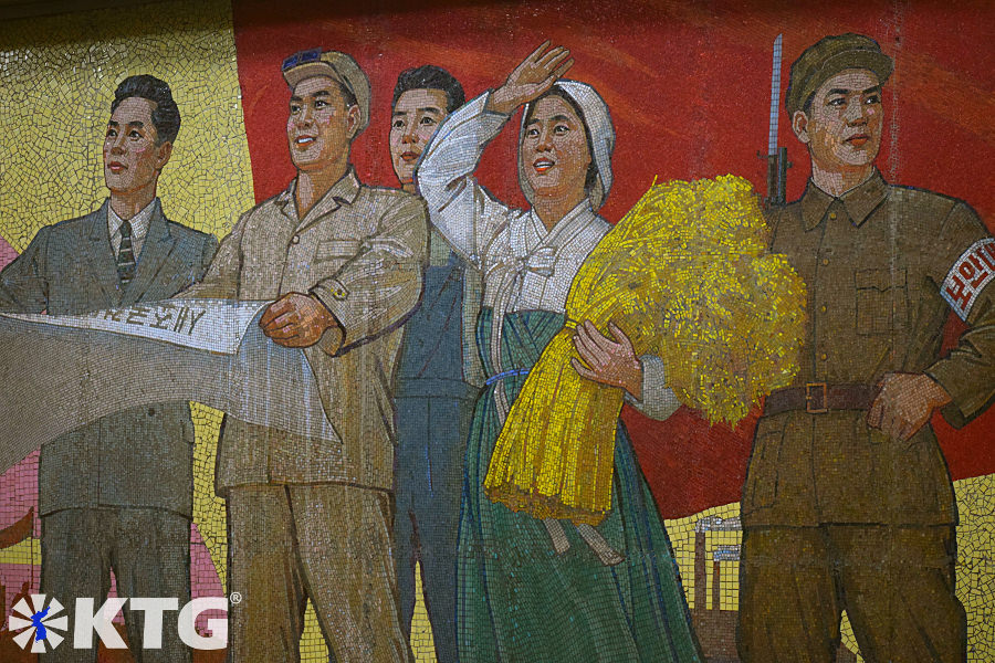 Mural inside the Pyongyang Metro Museum showing workers and soldiers during the reconstruction of the Pyongyang Metro in the capital of North Korea, DPRK. Unfortunately there are just a few places inside the museum where are allowed to take pictures.