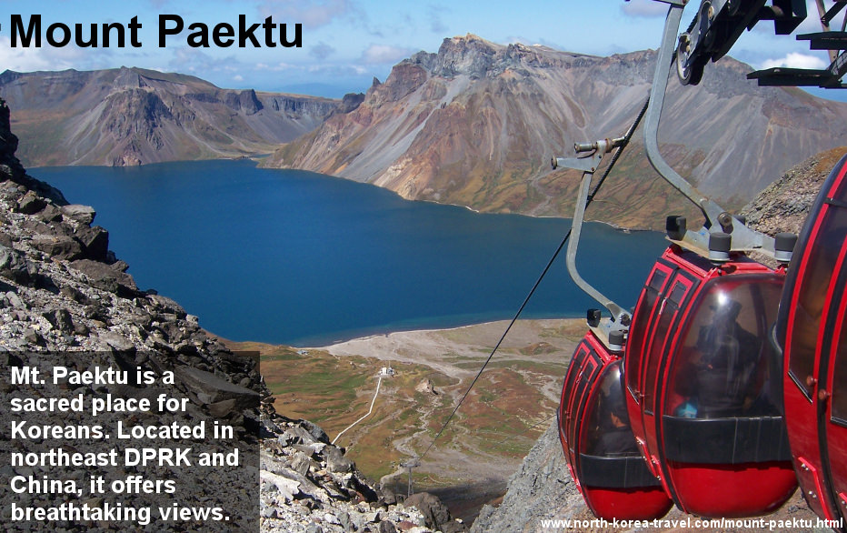 Image of Lake Chon in Mount Paekdu (also spelled Mount Paektu) in North Korea