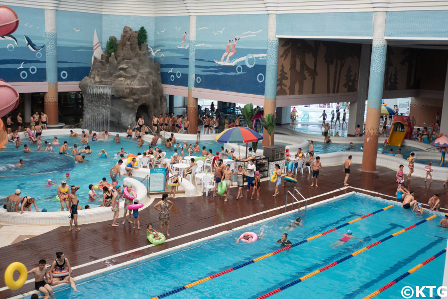 Munsu waterpark in Pyongyang capital of North Korea. Many locals gather here on holiday. Trip arranged by KTG Tours