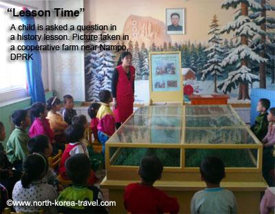 Kindergarten history class in North Korean farm