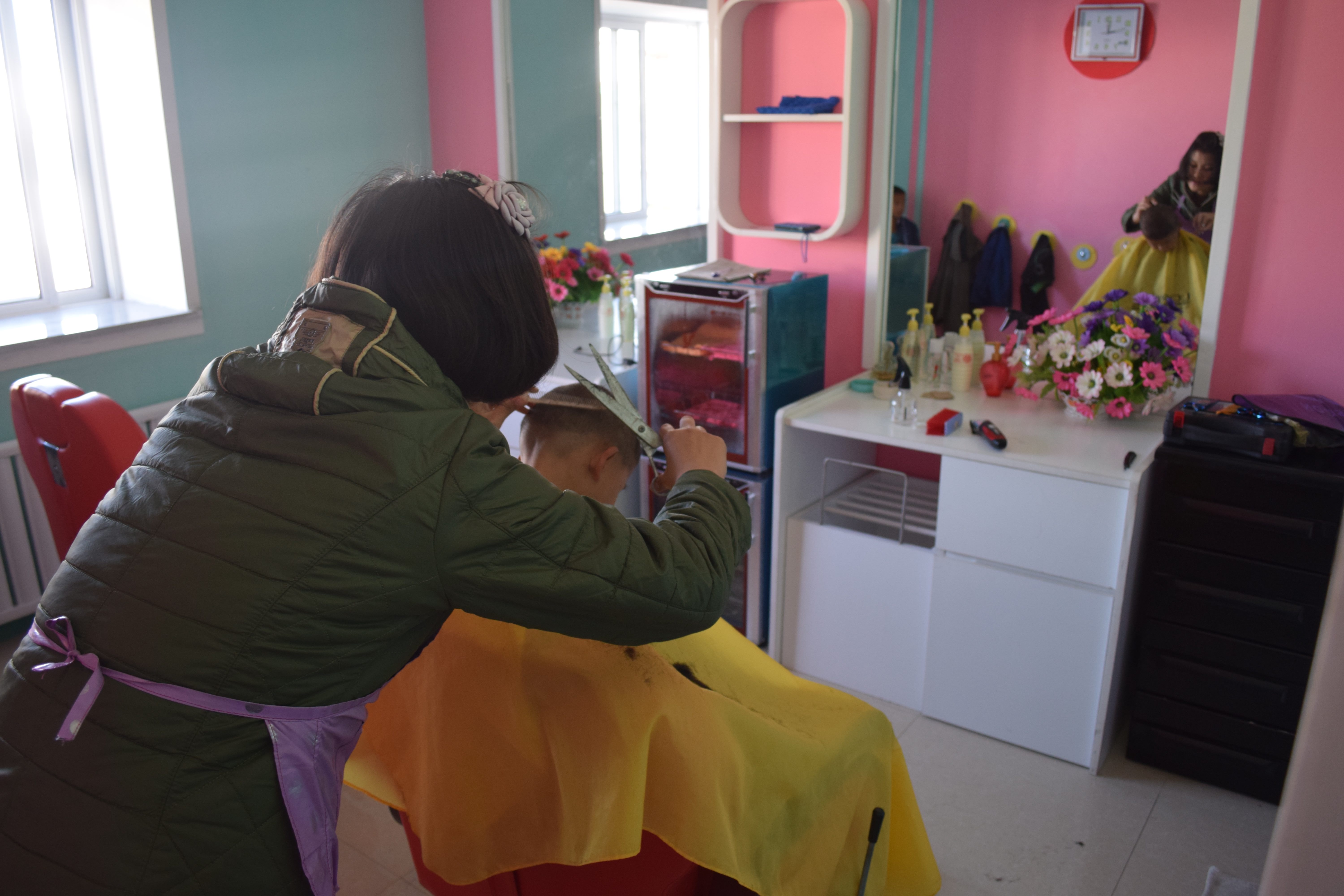 Hairdresser's at an orphanage near Nampo city