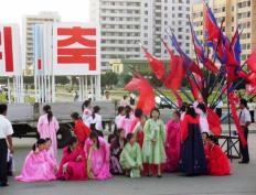 Celebraciones durante un dia festivo en Corea del Norte