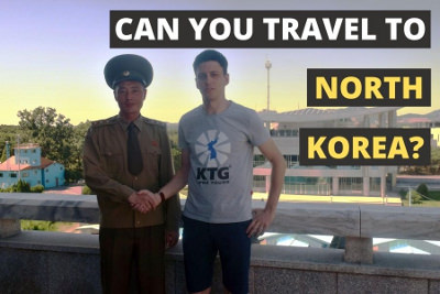 KPA North Korean soldier with KTG staff member at the DMZ