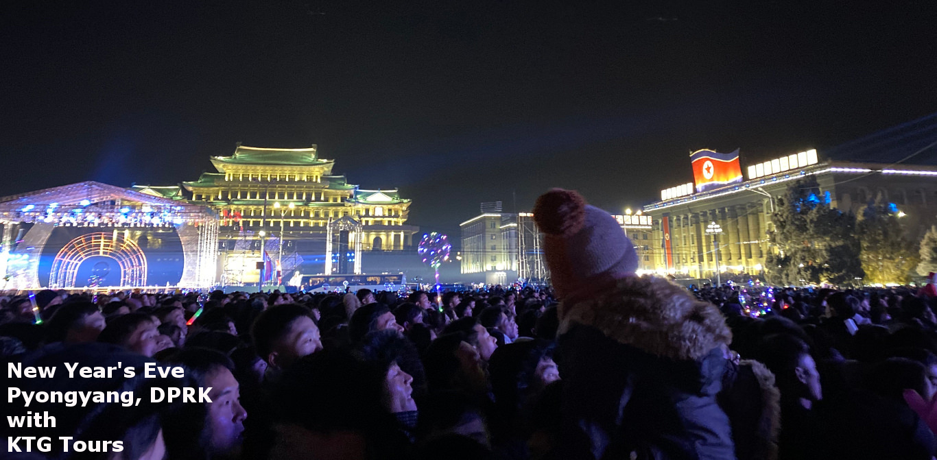 New Year's Eve at Kim Il Sung Square in Pyongyang, capital of North Korea. Tour arranged by KTG Tours