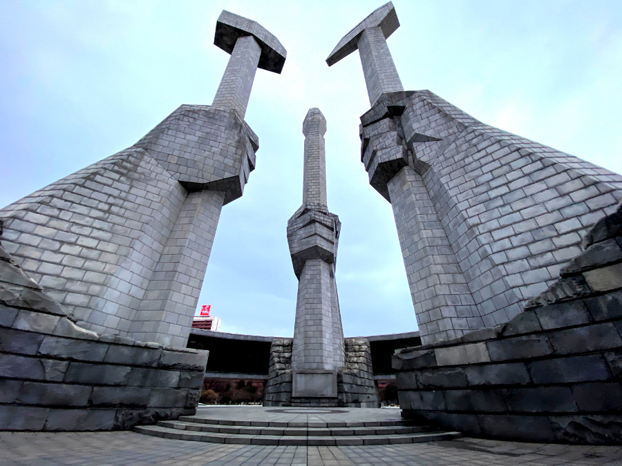Korean Workers' Party Foundation Monument in Pyongyang capital of North Korea. DPRK trip arranged by KTG Tours