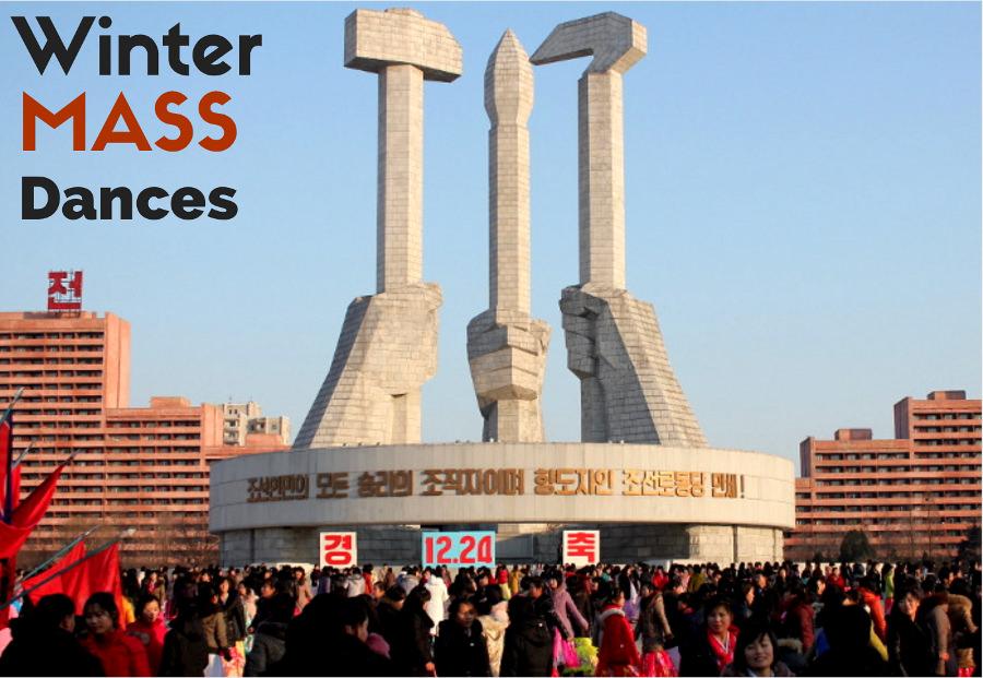 Mass danser på vintern i Nordkorea