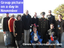 Group of travellers in North Korea on a November tour arranged by KTG