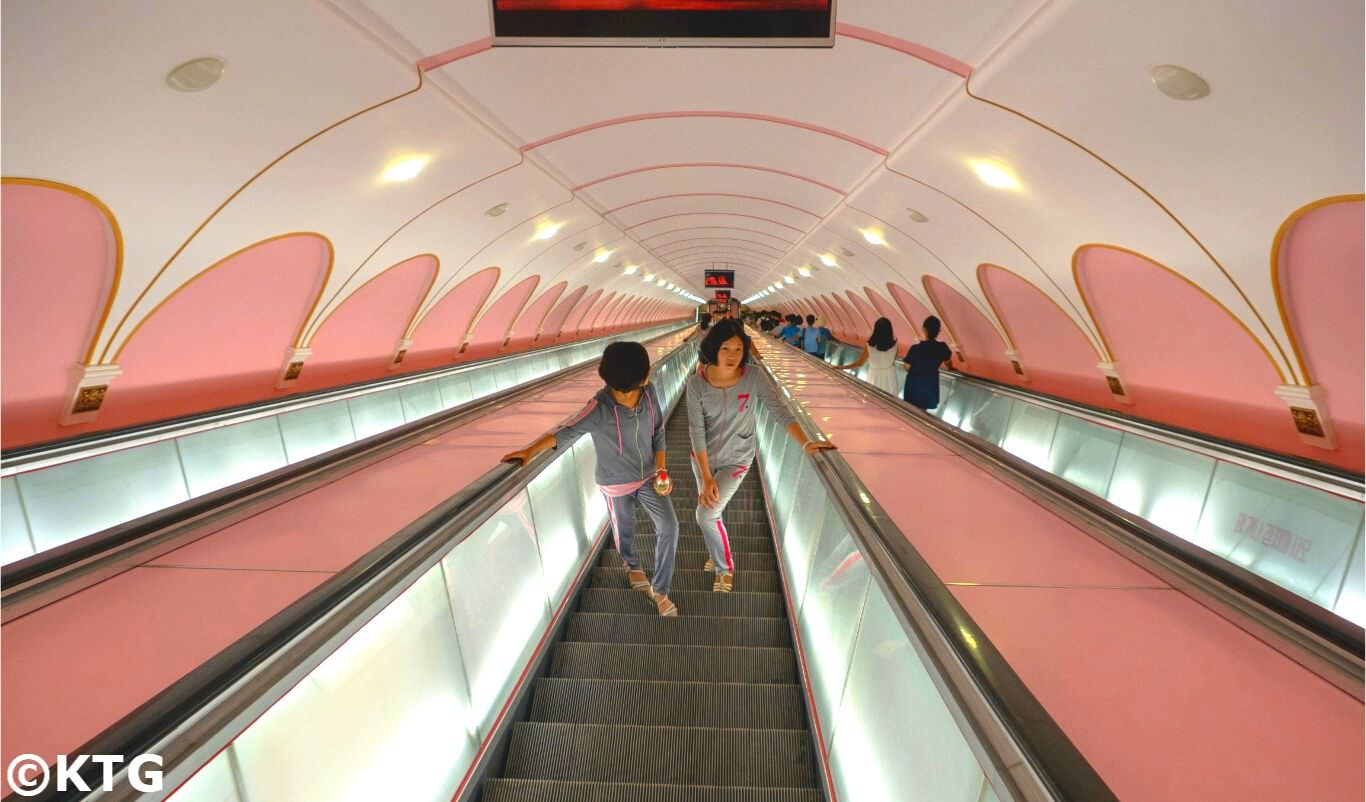 Pyonygang metro in North Korea, DPRK. Trip arranged by KTG Tours