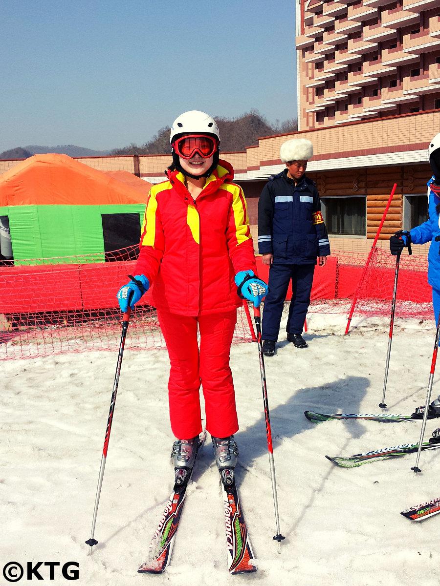 North Korean female guide at the Masikryong ski resort in the DPRK. Ski trip in North Korea arranged by KTG Tours