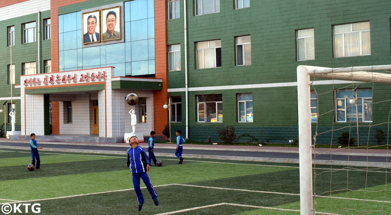 North Korean kids playing football in Pyongyang. Discover the DPRK with KTG!
