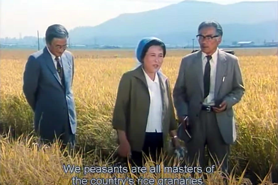 Japanese journalist interviewing North Korean farmer in the movie The Country I Saw Part One