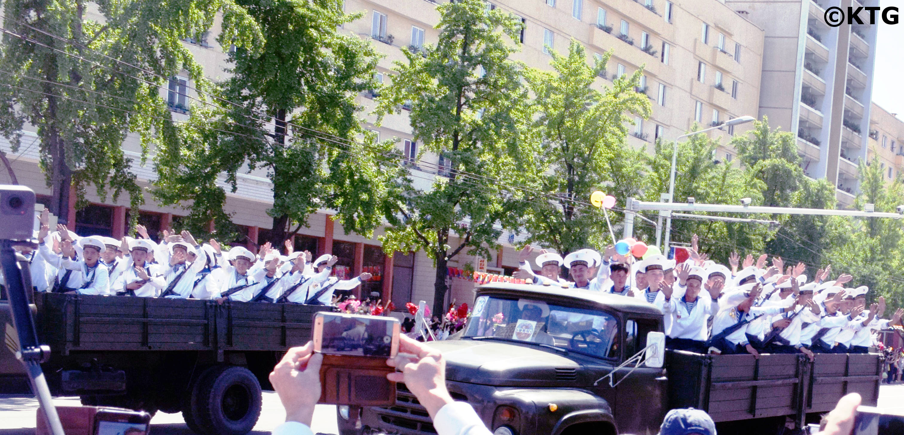North Korean navy in a military parade. KTG Tours