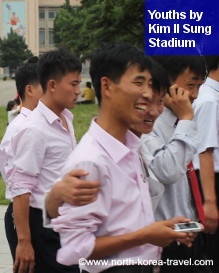 North Korean youths by Kim Il Sung Square in Pyongyang, DPRK