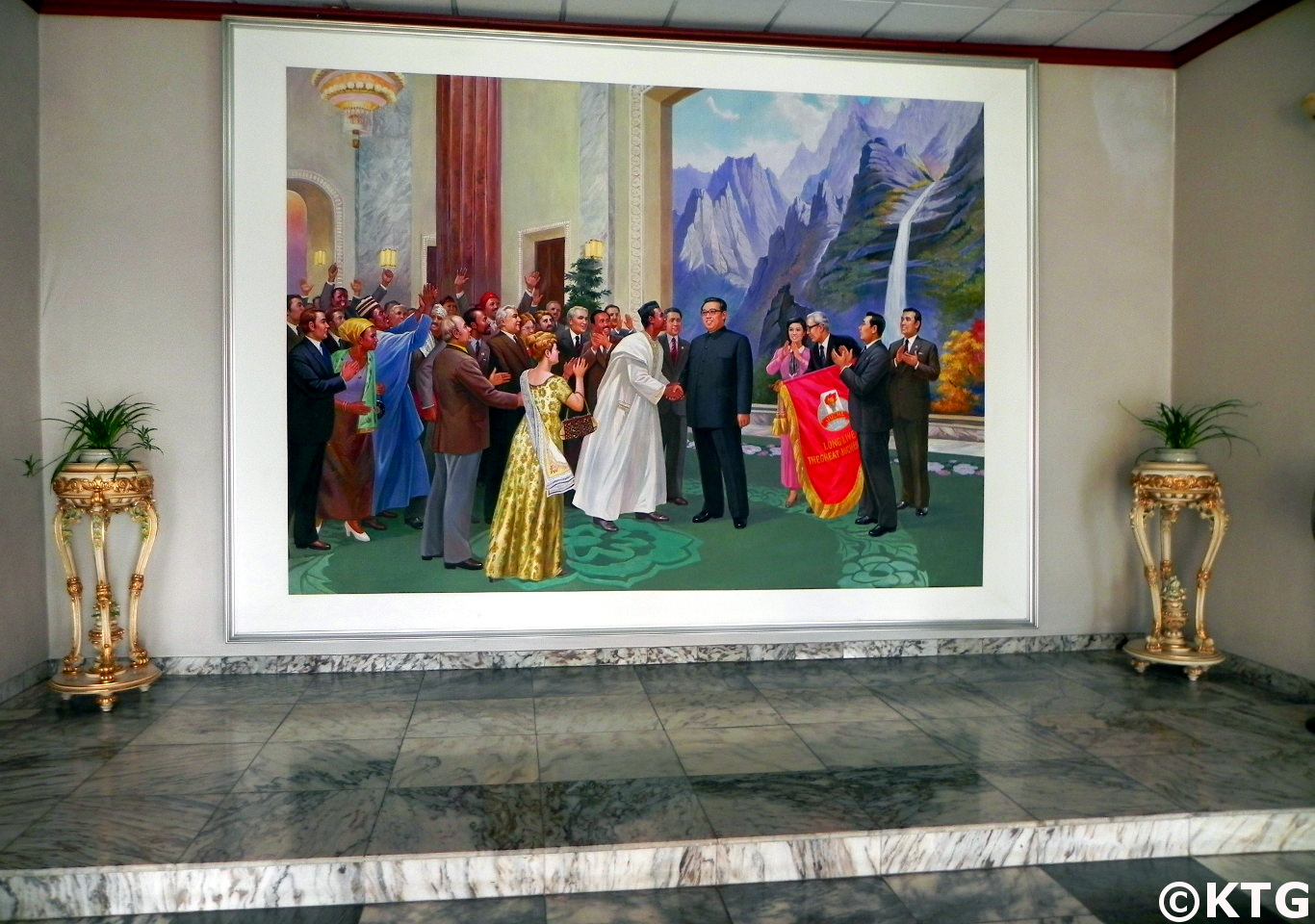 painting at the lobby of the 3.8 Hotel in Sariwon of President Kim Il Sung greeting foreign diginitaries, North Korea (DPRK). Picture taken by KTG Tours