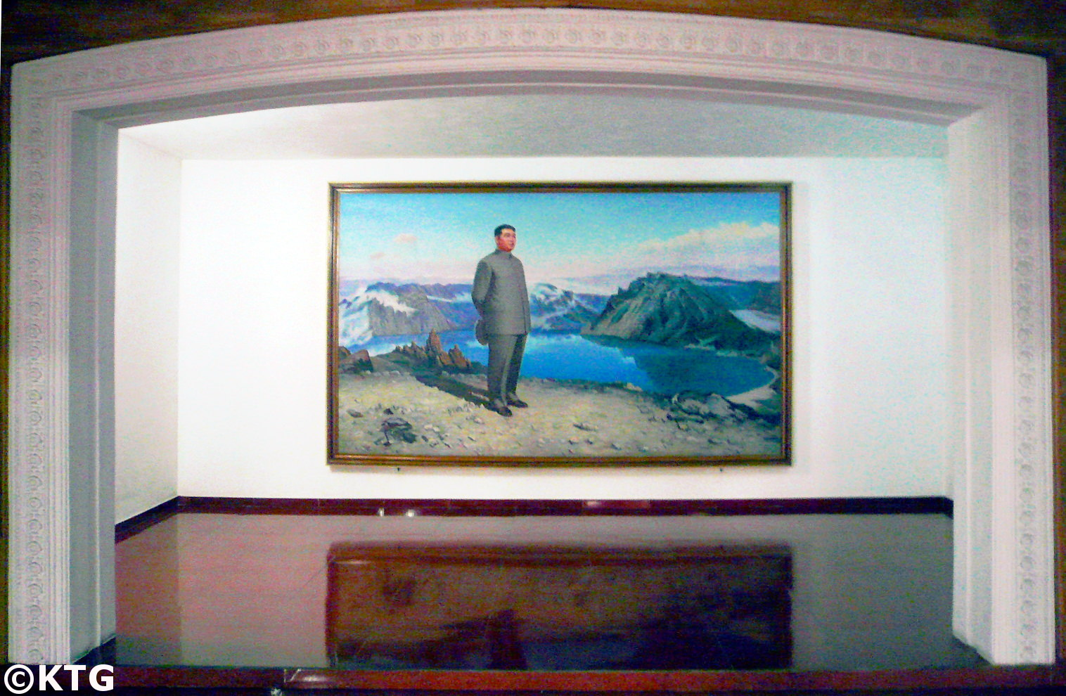 Painting of President Kim Il Sung on Mount Paektu in the Sinsunhang hotel in the industrial city of Hamhung, the second largest city of North Korea (DPRK). Picture taken by KTG Tours