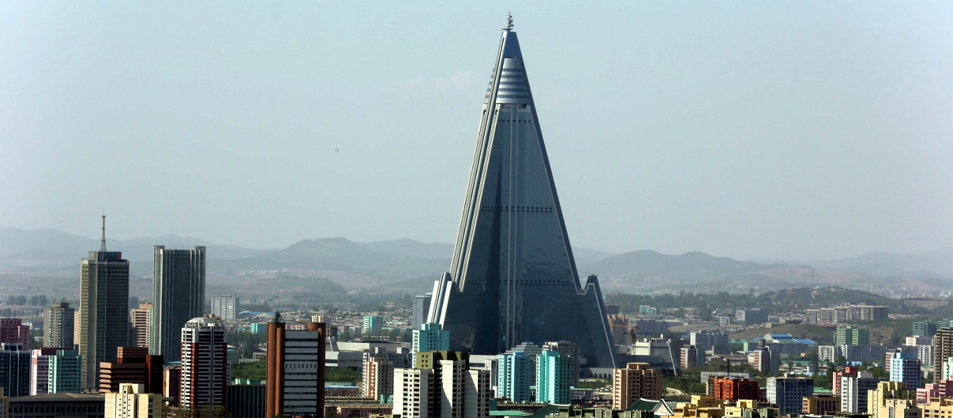 Pyongyang Skyline taken from the Juche Tower. The Ryugyong Hotel, the biggest in North Korea, can be distinctingly seen. Trip arranged by KTG Tours