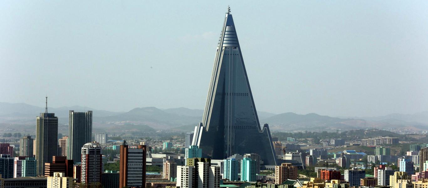 Ryugyong Hotel, Pyongyang skyline, North Korea (DPRK)