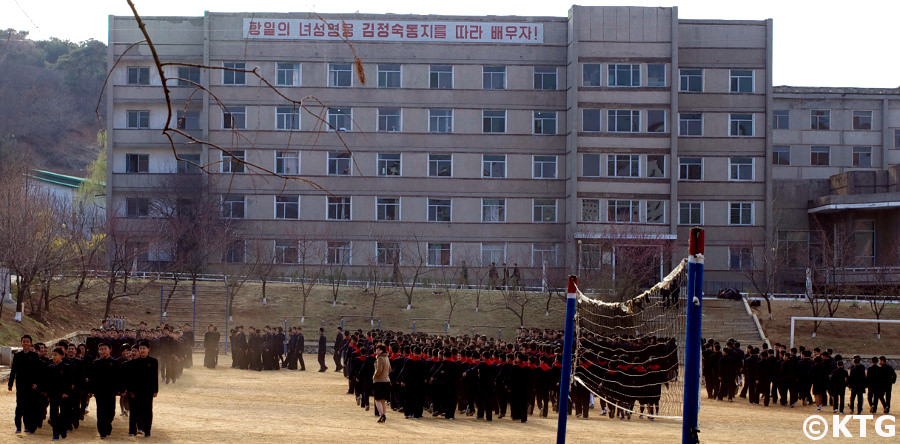Students of Kim Jong Suk Number 1 Middle School in Pyongsong city lining up in the morning before class. This is in South Pyongan province in North Korea, DPRK. Picture taken by KTG Tours