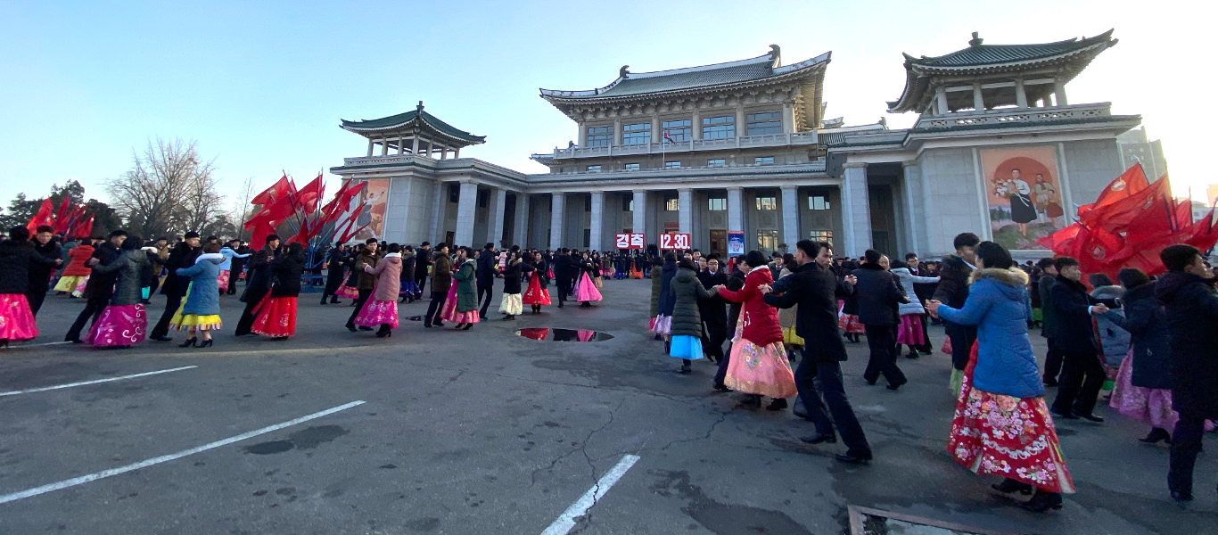Mass dances by the Pyongyang Grand theatre in North Korea, DPRK. Picture of North Korea. Trip arranged by KTG Tours
