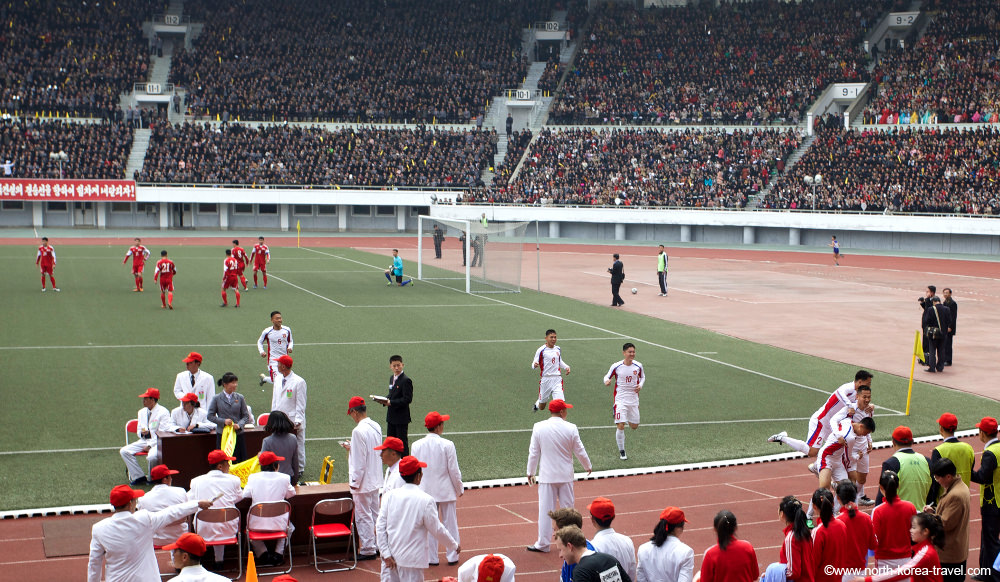 Football game (soccer) in Kim Il Sung Stadium, Pyongyang, North Korea