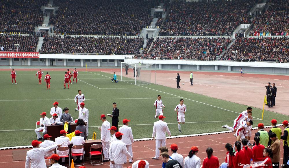 Football game (soccer) in Kim Il Sung Stadium, Pyongyang, North Korea