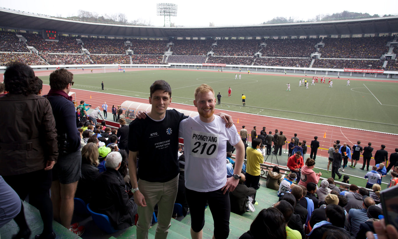 KTG rep with one of our Pyongyang marathon runners at the Kim Il Sung Stadium in North Korea