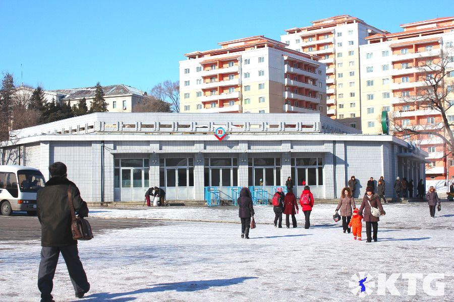 entrance of the Pyongyang metro in winter, North Korea. DPRK picture taken by KTG Tours