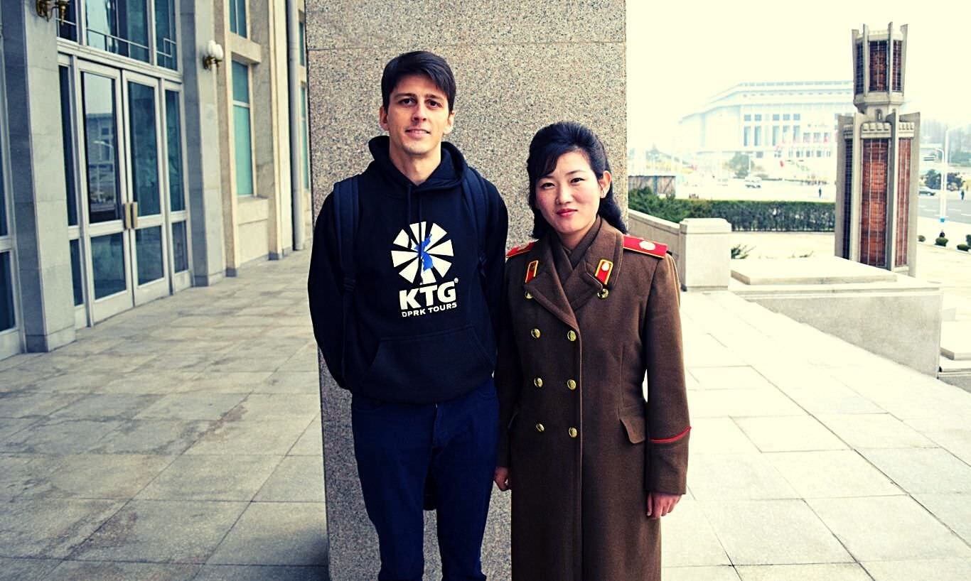 Rayco of KTG posing with the local guide at the Pyongyang Metro Museum in North Korea, the DPRK