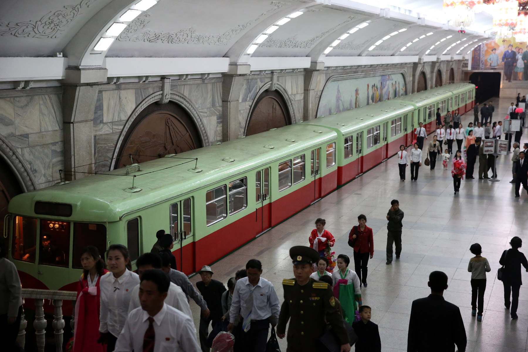 Entrance to the metro station in Pyongyang, North Korea. Visit the DPRK with KTG!