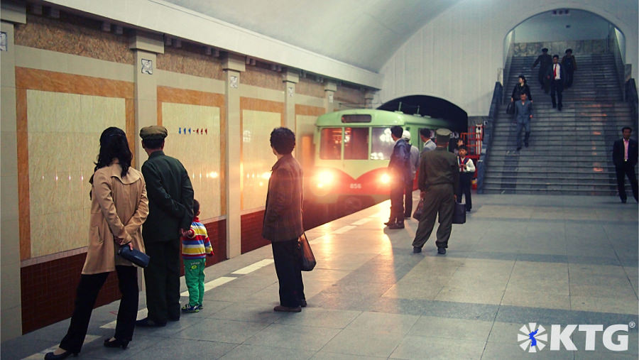Train entering the station at the Pyongyang metro, DPRK. The subwaysystem in North Korea is truly impressive. Picture of North Korea taken by KTG Tours