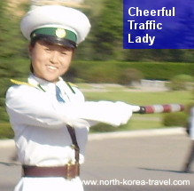 Traffic lady in Pyongyang smiling