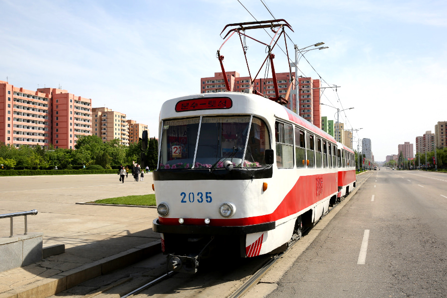 The Pyongyang tram in the capital of North Korea, DPRK. Trip arranged by KTG Tours