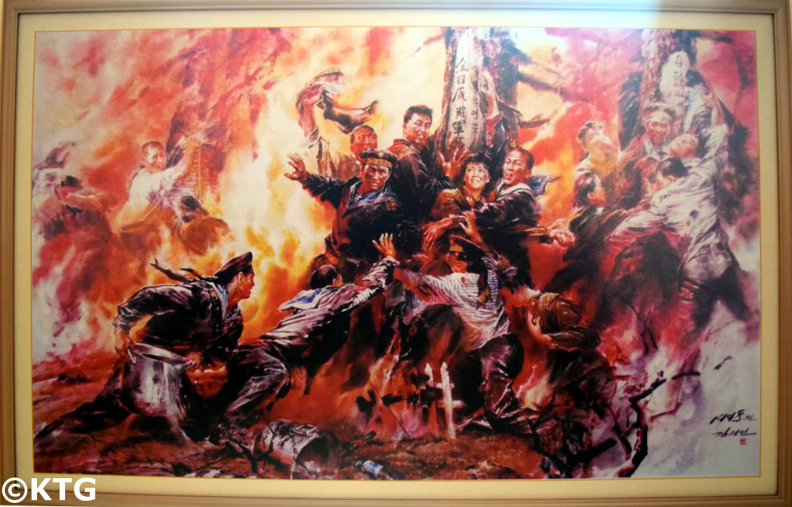 Propaganda painting in an orphanage in Rajin, North Korea (DPRK)