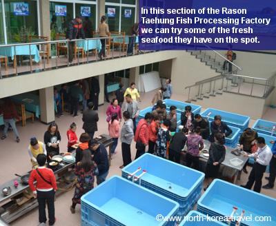 Fábrica de pescado Taehung en Rason, Corea del Norte. Esta es una zona económica especial en Corea del Norte (la RPDC)