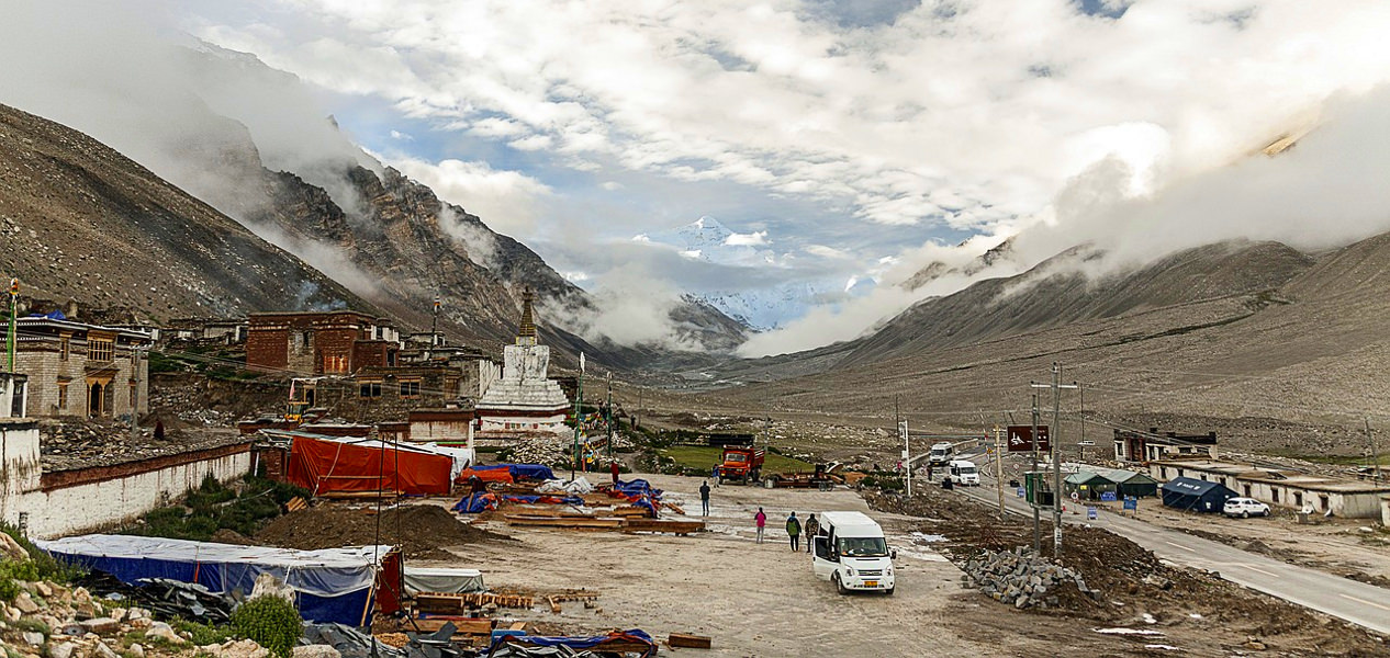 Rongbuk monastery has great views of the northern side of Mount Everest, Tibet, China