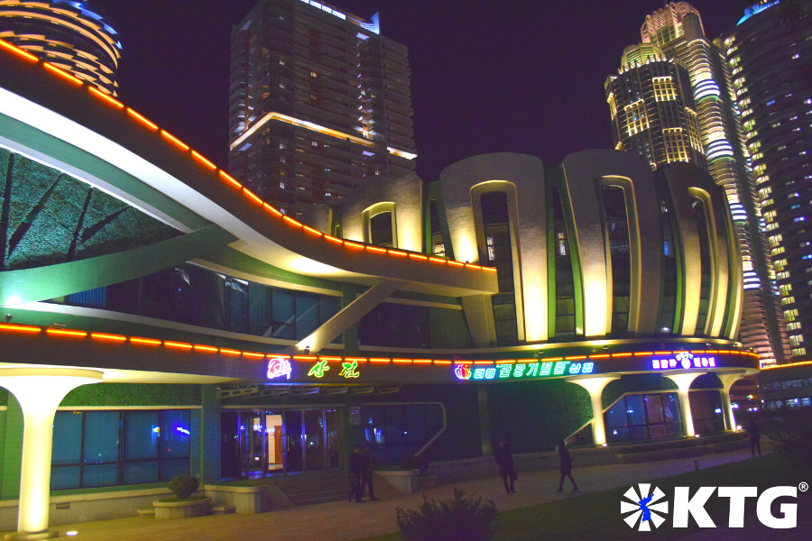 Lotus building in Ryomyong new street in Pyongyang capital of North Korea, DPRK. We usually have dinner here if having dinner at Ryomyong New Town. Trip arranged by KTG tours.