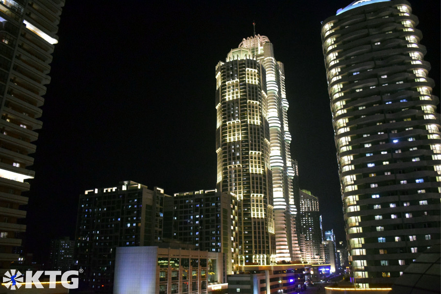Night view of Ryomyong new street in Pyongyang, North Korea, are eco-friendly. Picture taken by KTG Tours