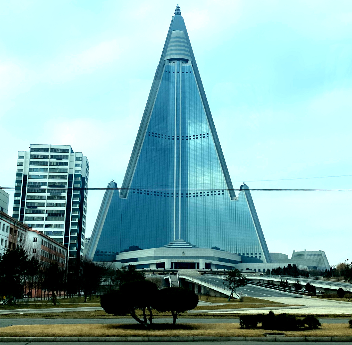 The Ryugyong hotel seen in 2020. Tour arranged by KTG Tours