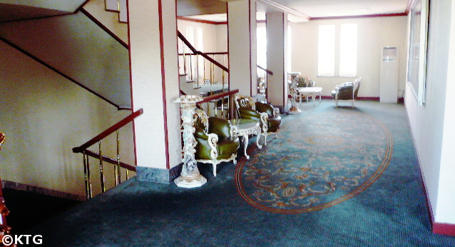 Stair case of the 3.8 8 March Hotel in Sariwon in North Korea, DPRK, with KTG Tours