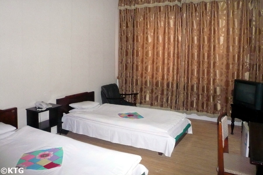 Standard room at the Sinsunhang Hotel in Hamhung, North Korea officially called the DPRK. Picture taken by KTG