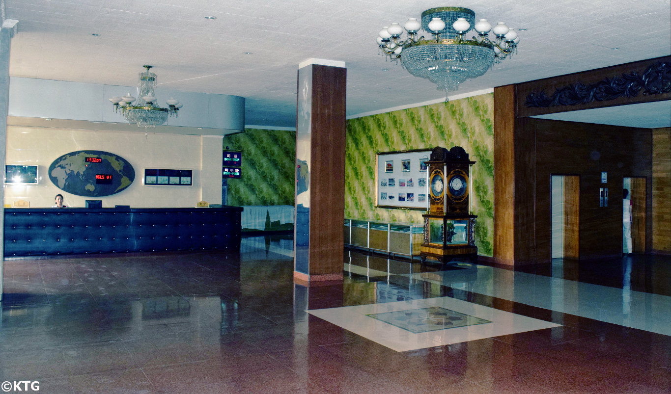 Hotel lobby of the Sinsunhang Hotel in Hamhung, South Hamgyong province, North Korea, DPRK. The Sinsunhang hotel is located in the city centre of Hamhung. Picture taken by KTG Tours