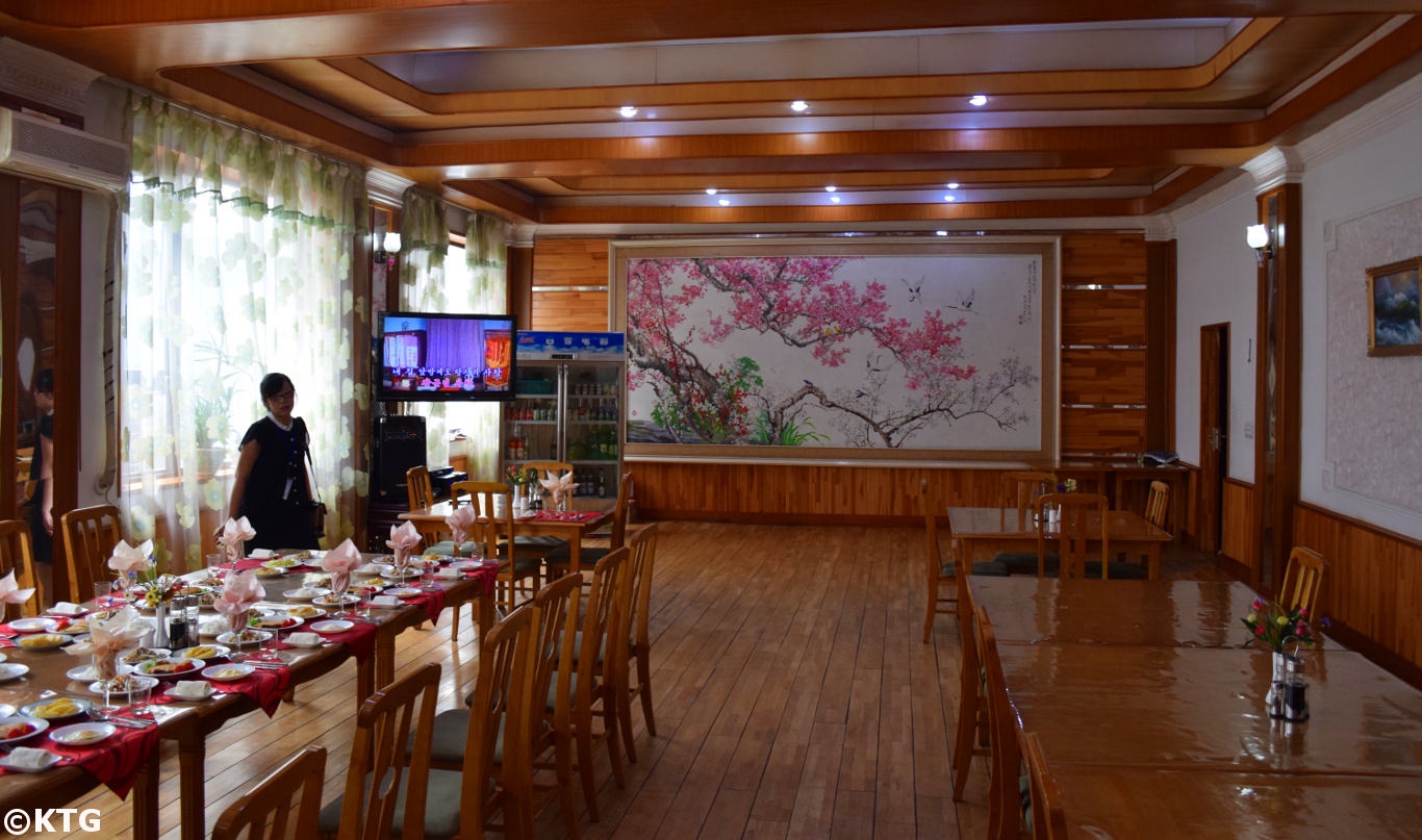 Restaurant at the Sinsunhang hotel in the industrial city of Hamhung, the second largest city of North Korea (DPRK). Picture taken by KTG Tours