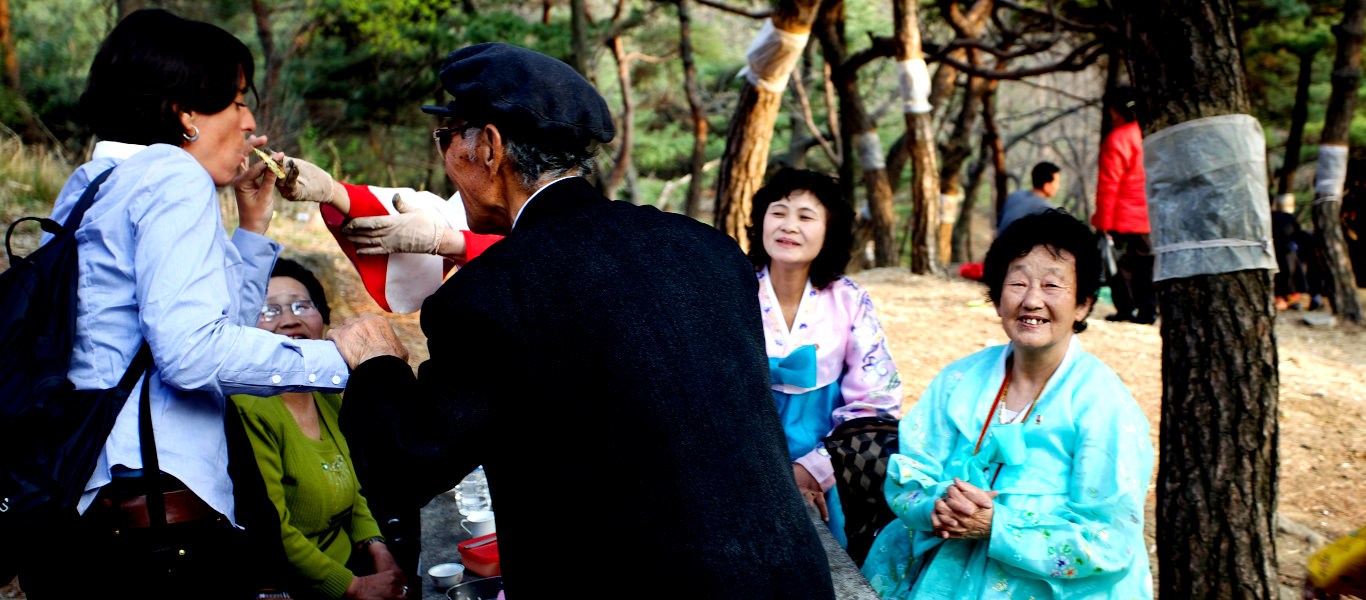 Picnic in a park in Pyongyang with North Koreans on the Birthday of Kim Il Sung