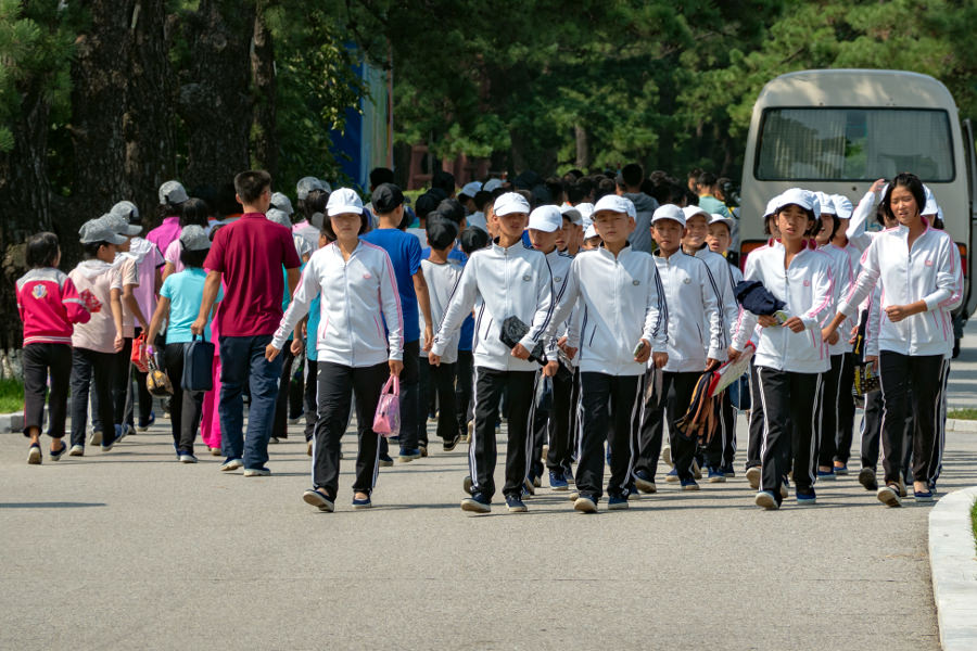 Kids at the Songdowon International Summer camp in Wonsan, Democratic People's Republic of Korea, North Korea. Trip arranged by KTG Tours