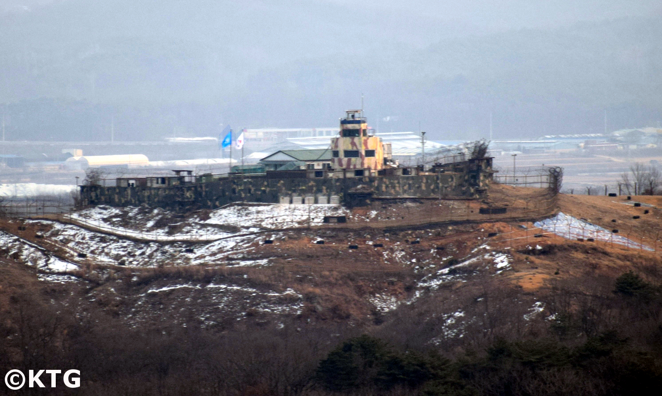 South Korean military look out post by the DMZ seen from North Korea. These two countries are still technically at war as there has been no peace agreement for the Korean War just an armistice. Tour arranged by KTG