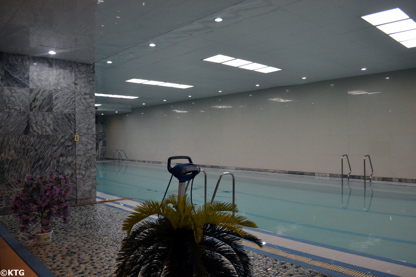 Swimming pool at the Yanggakdo Hotel, Pyongyang, North Korea